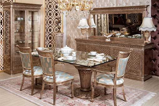 belinda glass Classic Dining Room Set